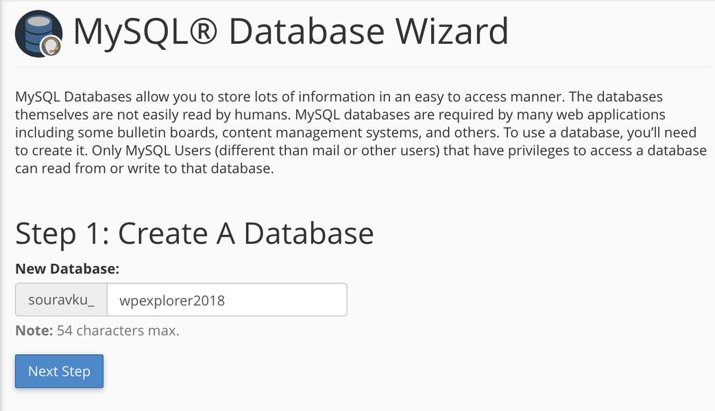 создание новой базы данных mysql в имени базы данных cpanel 1