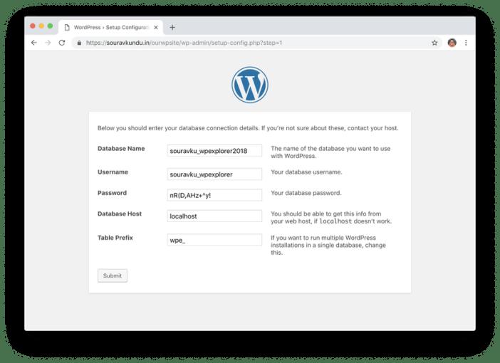 wordpress 5 minutos instalar 3 ingresar detalles de la base de datos