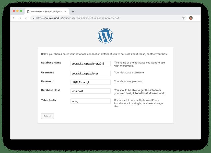 WordPress 5 минут установки 3 введите данные базы данных