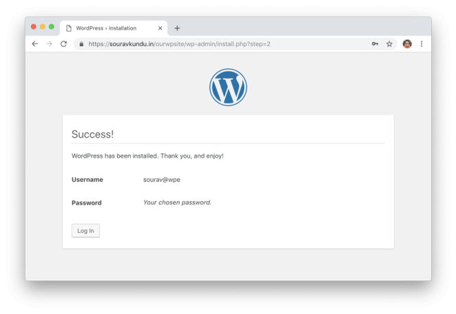 wordpress 5 minute installer 6 terminé