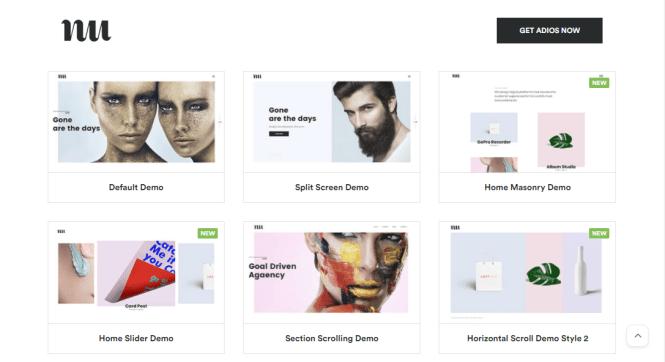 thème wordpress du portfolio adios pour les artistes