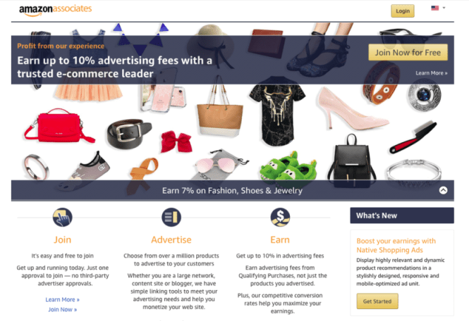 La page Amazon Associates.