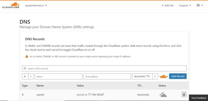 Paramètres DNS Cloudflare