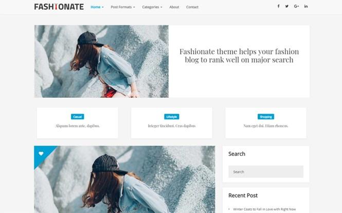 Thème WordPress gratuit de Fashionate Blogging
