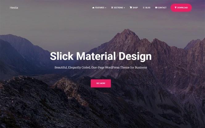 Thème WordPress gratuit pour Hestia Material Design