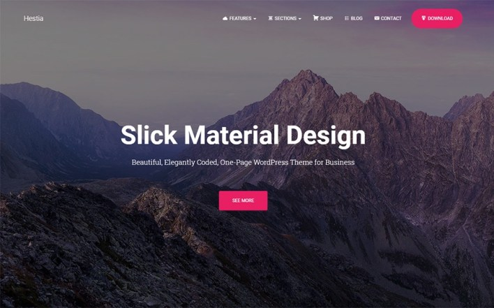 Tema de WordPress gratuito de Hestia Material Design