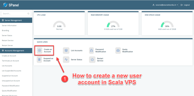 Comment créer un nouveau compte utilisateur dans Scala spanel VPS 1