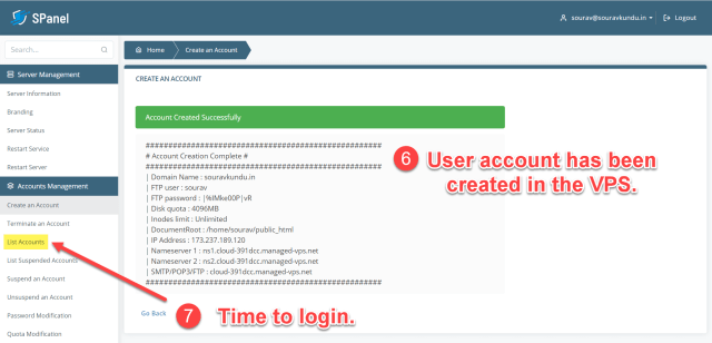 How to create a new user account in Scala spanel VPS 3