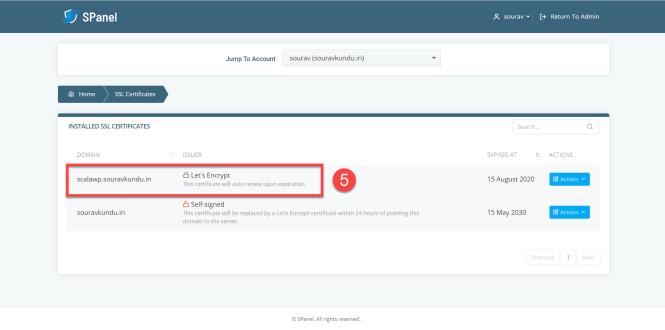 Comment installer un certificat SSL gratuit dans Scala SPanel partie 5