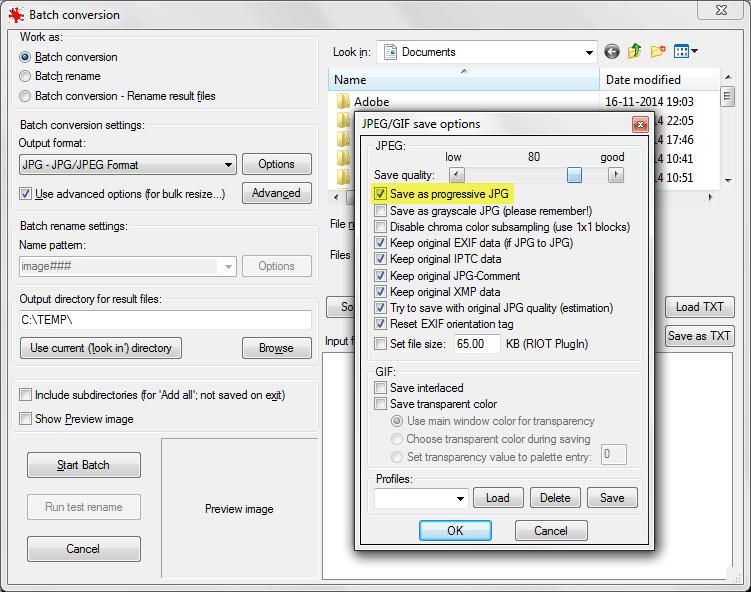 IrfanView Supports Batch Conversion with Progressive JPEG