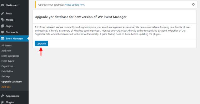 upgrade wp event manager database