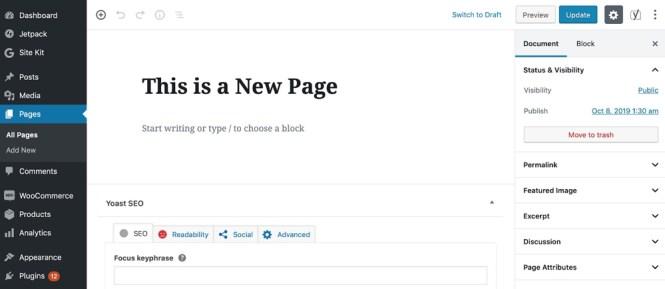 WordPress Ajouter une nouvelle page