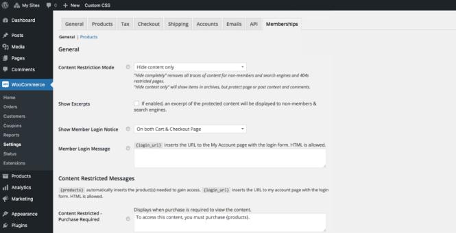Paramètres de restriction des adhésions à WooCommerce
