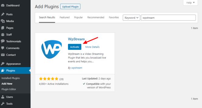 activer le plugin wpstream