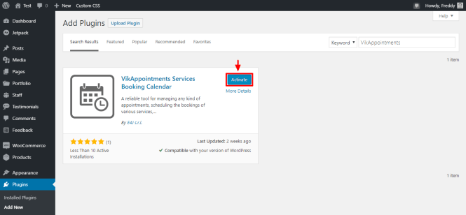 activer le plugin vikappointments wordpress