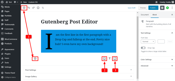 ajout d'une nouvelle image dans l'éditeur gutenberg