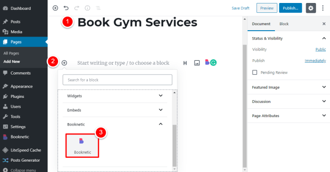 ajout de shortcode booknetic