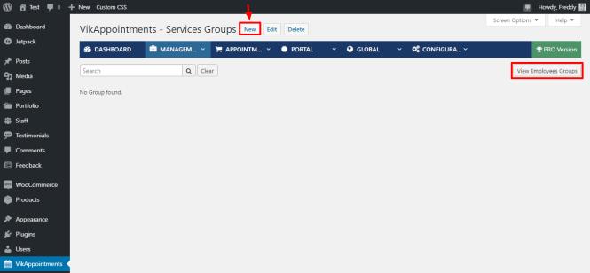 ajout de nouveaux groupes de services