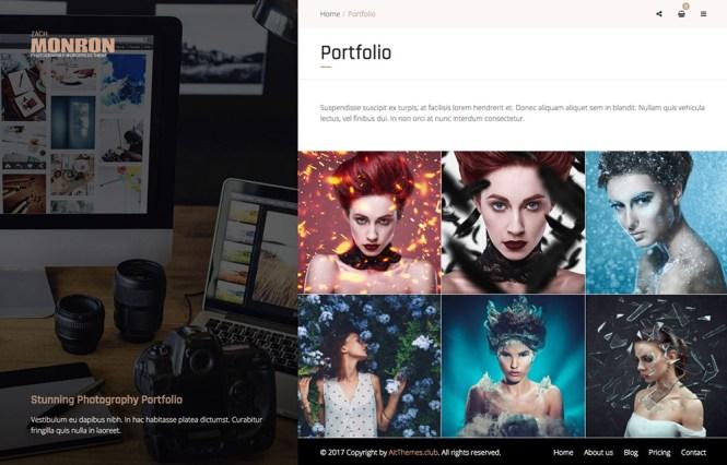 Thème WordPress de portfolio en ligne de photographe