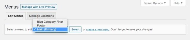 Set Menus: Create or Select Menus