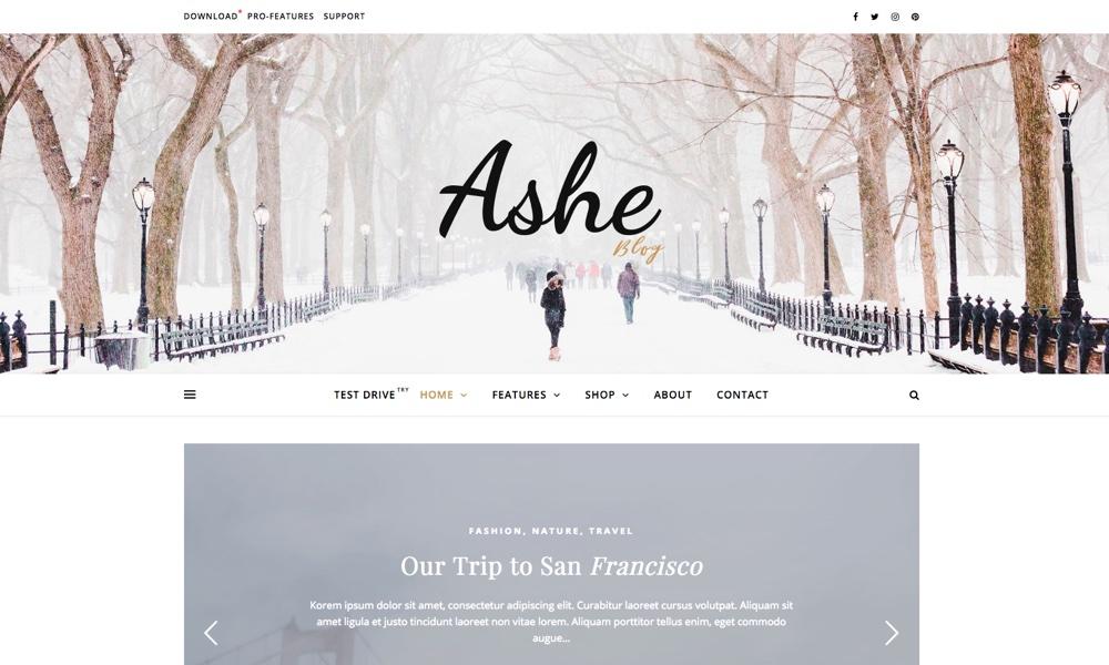 Ashe Personal & Multi-Author Free WordPress Blog Theme