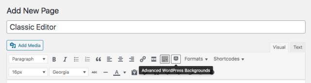 Advanced WordPress Backgrounds Classic Editor