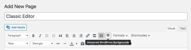 Éditeur classique d'arrière-plans WordPress avancés