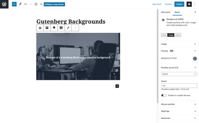 Advanced WordPress Backgrounds Gutenberg Settings