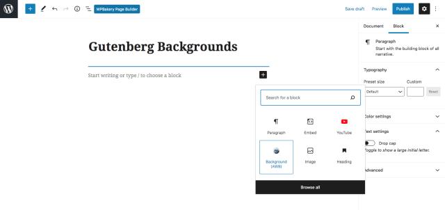 Advanced WordPress Backgrounds Gutenberg