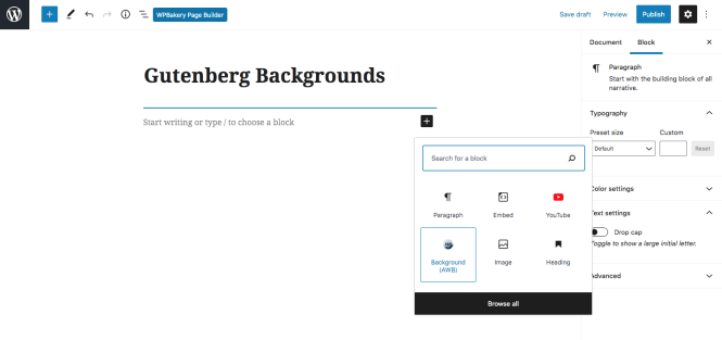 Arrière-plans WordPress avancés Gutenberg