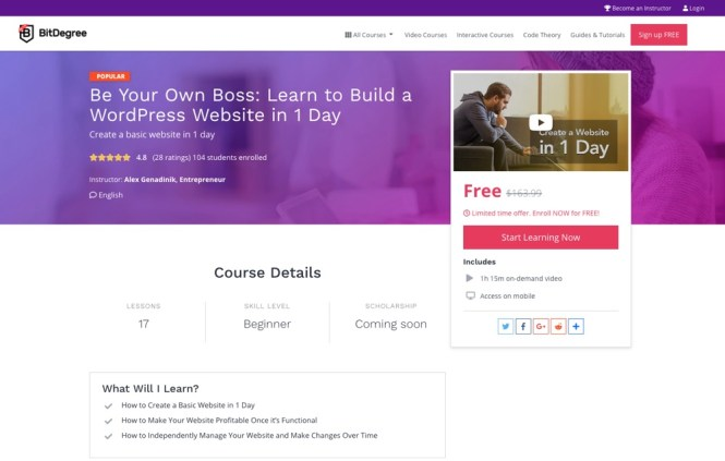 Soyez votre propre patron Cours WordPress par BitDegree