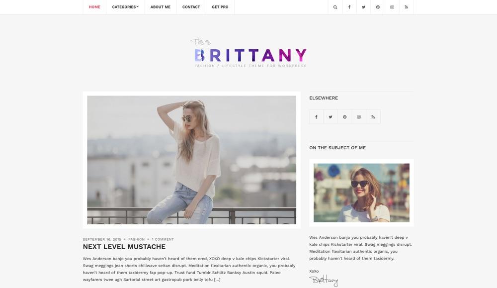 Brittany Light Free Blog WordPress Theme