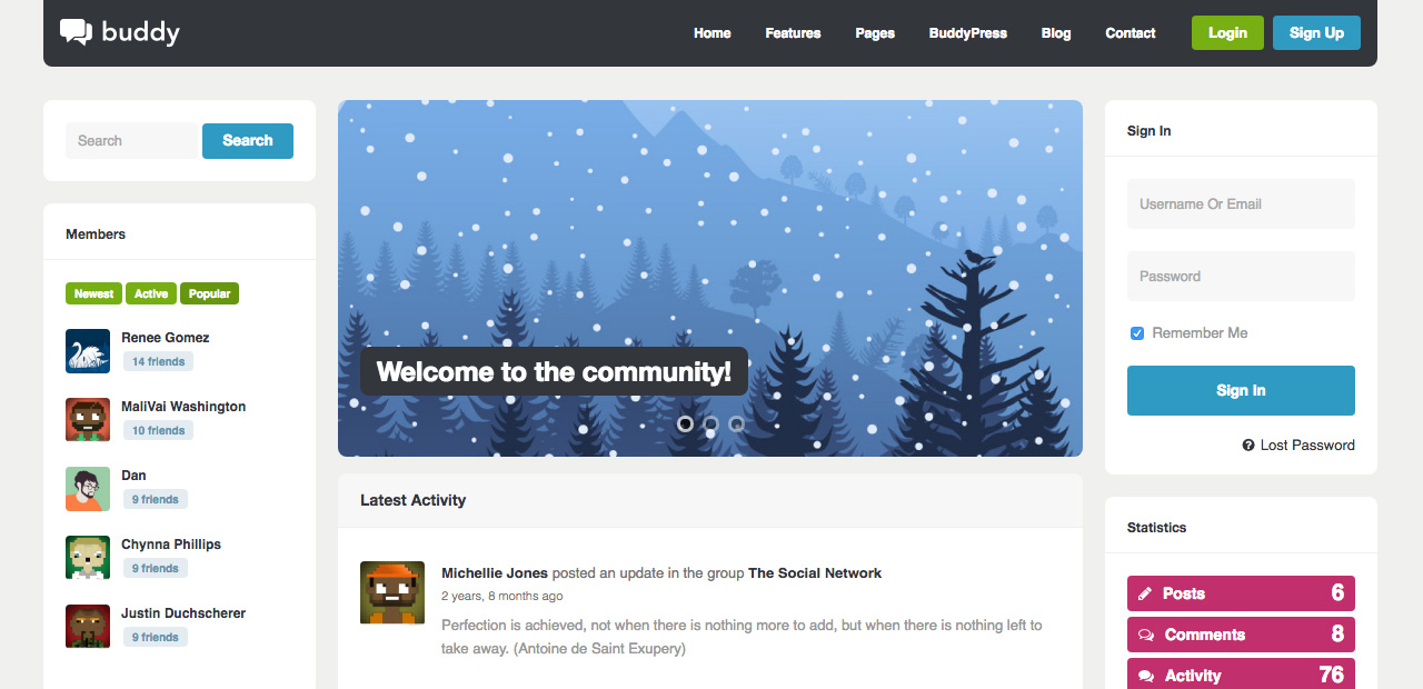 Buddy Multi-Purpose WordPress/BuddyPress Theme