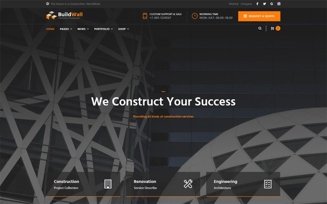Thème WordPress polyvalent BuildWall Construction Company