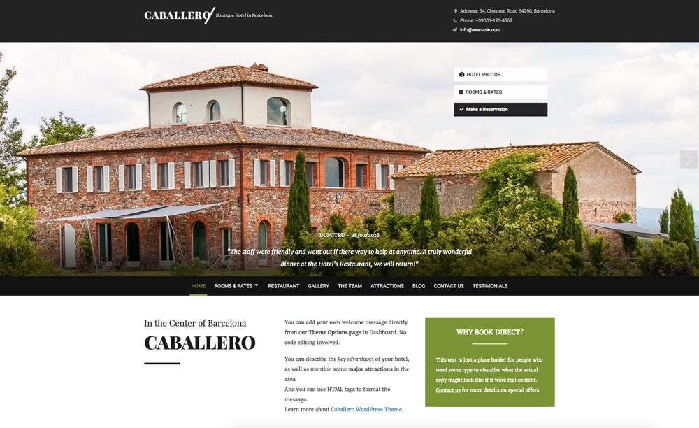 Caballero Hotel WordPress Theme