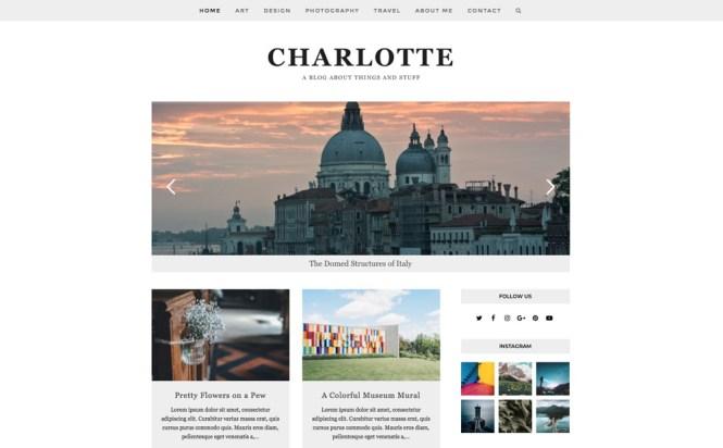 Thème WordPress polyvalent et de blogging total: Charlotte Demo