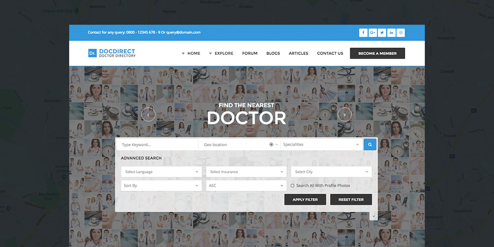 DocDirect Здоровье Каталог WordPress Тема