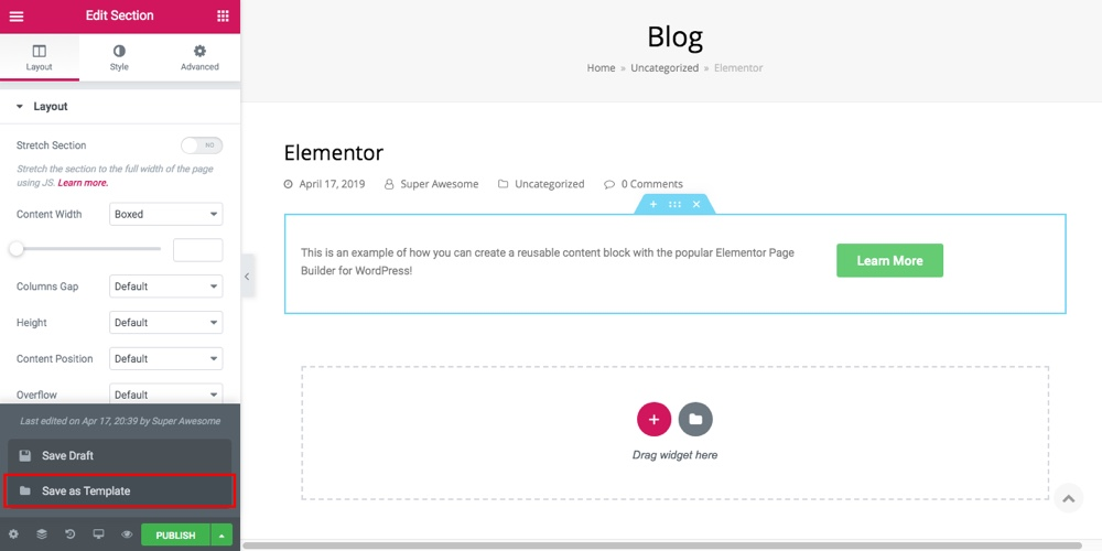 Многоразовые блоки контента Elementor Шаг 1