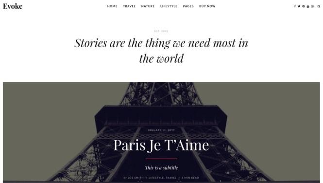 Evoke Photo Stories Thème du blog WordPress