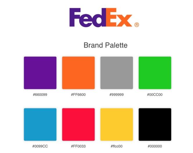 Palettes de marques Exemple FedEx