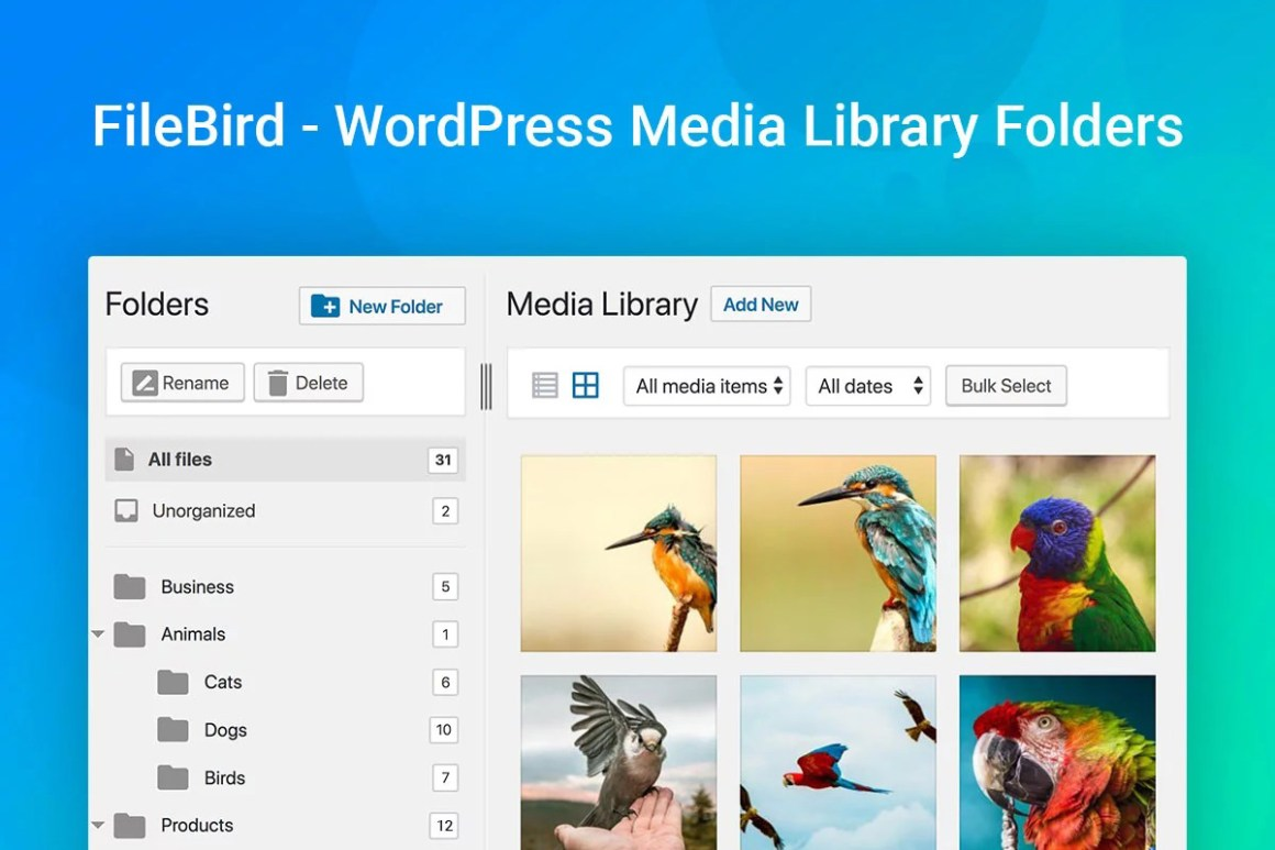 FileBird - WordPress Медиатека Папки