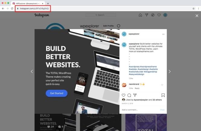 Intégration WordPress Instagram