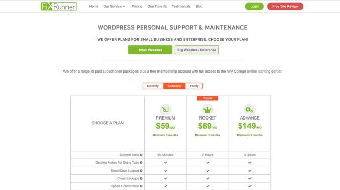 Tarification du support FixRunner WordPress
