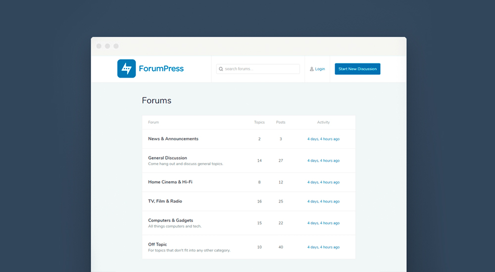 ForumPress bbPress Forum WordPress Theme