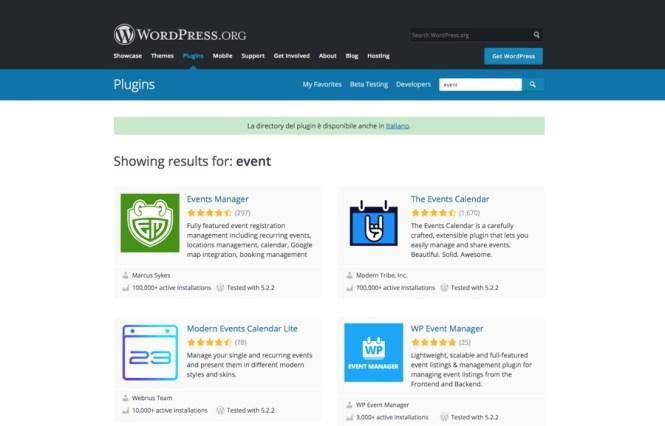 WordPress.org Plugins d'événement gratuits