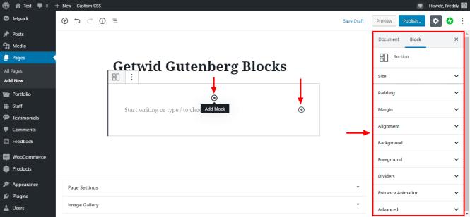 paramètres de bloc de section getwid