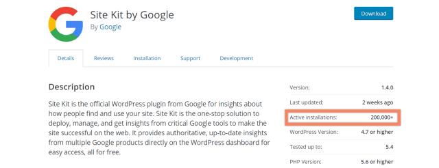 google site kit plugin Statistics wordpress.org