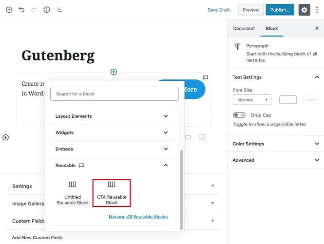 Gutenberg Reusable Content Blocks Étape 3