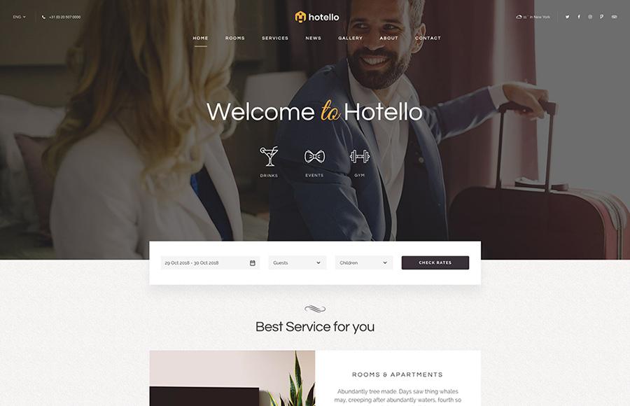 Hotello Hotel Booking WordPress Theme