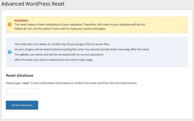 Options de réinitialisation WordPress avancées